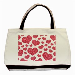 Heart Love Pink Back Basic Tote Bag (two Sides)