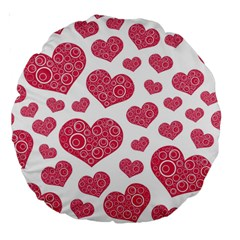 Heart Love Pink Back Large 18  Premium Round Cushions by AnjaniArt