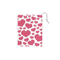 Heart Love Pink Back Drawstring Pouches (xs)