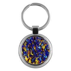 Network Blue Color Abstraction Key Chains (round)  by AnjaniArt