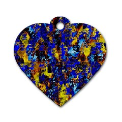 Network Blue Color Abstraction Dog Tag Heart (two Sides)