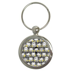 Man Girl Face Standing Key Chains (round)