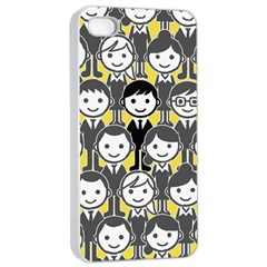 Man Girl Face Standing Apple Iphone 4/4s Seamless Case (white) by AnjaniArt