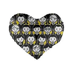 Man Girl Face Standing Standard 16  Premium Heart Shape Cushions by AnjaniArt