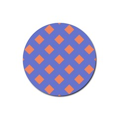 Orange Blue Rubber Coaster (round)  by AnjaniArt