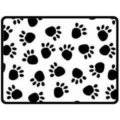 Paws Black Animals Fleece Blanket (large)  by AnjaniArt