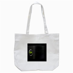 On Black Tote Bag (white)
