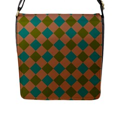 Plaid Box Brown Blue Flap Messenger Bag (l)