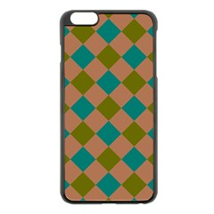 Plaid Box Brown Blue Apple Iphone 6 Plus/6s Plus Black Enamel Case