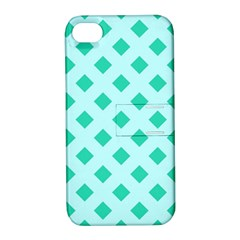Plaid Blue Box Apple Iphone 4/4s Hardshell Case With Stand