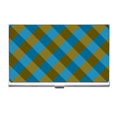 Plaid Line Brown Blue Box Business Card Holders