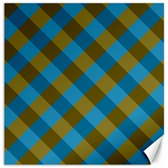 Plaid Line Brown Blue Box Canvas 20  X 20   by AnjaniArt