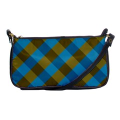 Plaid Line Brown Blue Box Shoulder Clutch Bags