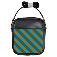 Plaid Line Brown Blue Box Girls Sling Bags by AnjaniArt