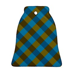Plaid Line Brown Blue Box Bell Ornament (2 Sides) by AnjaniArt