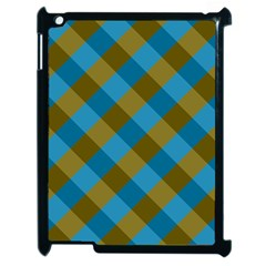 Plaid Line Brown Blue Box Apple Ipad 2 Case (black) by AnjaniArt