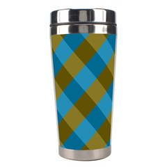 Plaid Line Brown Blue Box Stainless Steel Travel Tumblers