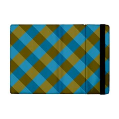 Plaid Line Brown Blue Box Ipad Mini 2 Flip Cases by AnjaniArt