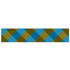 Plaid Line Brown Blue Box Flano Scarf (small) by AnjaniArt