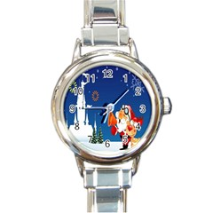 Santa Claus Reindeer Horn Castle Trees Christmas Holiday Round Italian Charm Watch by AnjaniArt