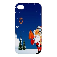 Santa Claus Reindeer Horn Castle Trees Christmas Holiday Apple Iphone 4/4s Premium Hardshell Case