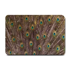 Purple Peacock Feather Wallpaper Small Doormat  by AnjaniArt