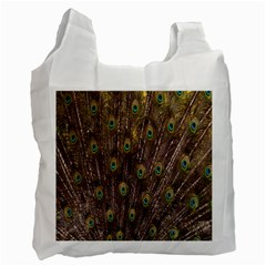 Purple Peacock Feather Wallpaper Recycle Bag (one Side) by AnjaniArt