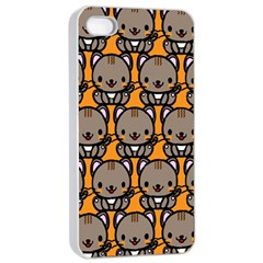 Sitcat Orange Brown Apple Iphone 4/4s Seamless Case (white) by AnjaniArt