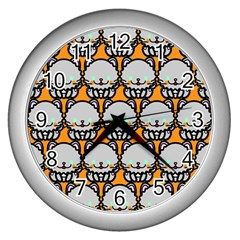 Sitpersian Cat Orange Wall Clocks (silver)  by AnjaniArt