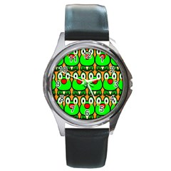 Sitfrog Orange Face Green Frog Copy Round Metal Watch