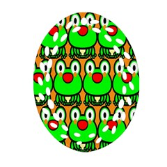 Sitfrog Orange Face Green Frog Copy Ornament (oval Filigree)