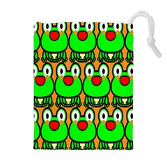 Sitfrog Orange Face Green Frog Copy Drawstring Pouches (extra Large) by AnjaniArt