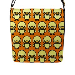 Small Duck Yellow Flap Messenger Bag (l)  by AnjaniArt