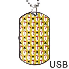 Snowman Green Dog Tag Usb Flash (two Sides)  by AnjaniArt