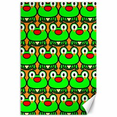 Sitfrog Orange Green Frog Canvas 24  X 36  by AnjaniArt