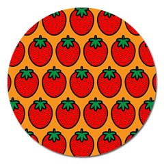 Strawberry Orange Magnet 5  (round) by AnjaniArt