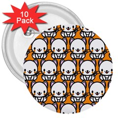 Sitwhite Cat Orange 3  Buttons (10 Pack)