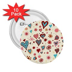Valentine Heart Pink Love 2 25  Buttons (10 Pack)  by AnjaniArt