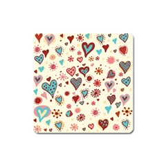 Valentine Heart Pink Love Square Magnet by AnjaniArt