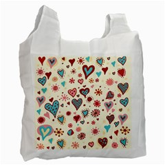 Valentine Heart Pink Love Recycle Bag (one Side) by AnjaniArt