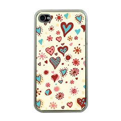 Valentine Heart Pink Love Apple Iphone 4 Case (clear) by AnjaniArt