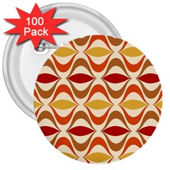 Wave Orange Red Yellow Rainbow 3  Buttons (100 Pack)