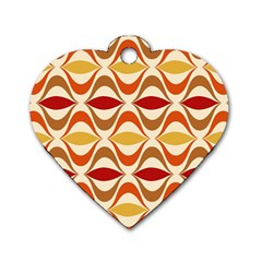 Wave Orange Red Yellow Rainbow Dog Tag Heart (two Sides) by AnjaniArt