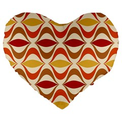Wave Orange Red Yellow Rainbow Large 19  Premium Heart Shape Cushions by AnjaniArt