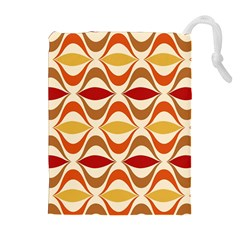 Wave Orange Red Yellow Rainbow Drawstring Pouches (extra Large) by AnjaniArt