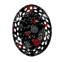 Red Mind Oval Filigree Ornament (2 Side)  by Valentinaart
