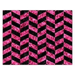 Chevron1 Black Marble & Pink Marble Jigsaw Puzzle (rectangular) by trendistuff