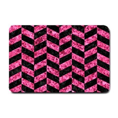 Chevron1 Black Marble & Pink Marble Small Doormat by trendistuff