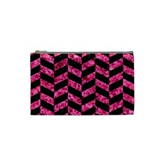 Chevron1 Black Marble & Pink Marble Cosmetic Bag (small) by trendistuff
