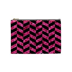 Chevron1 Black Marble & Pink Marble Cosmetic Bag (medium) by trendistuff